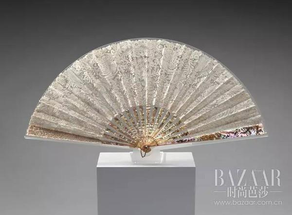 fan late 1800s,brussels bobbin lace,france