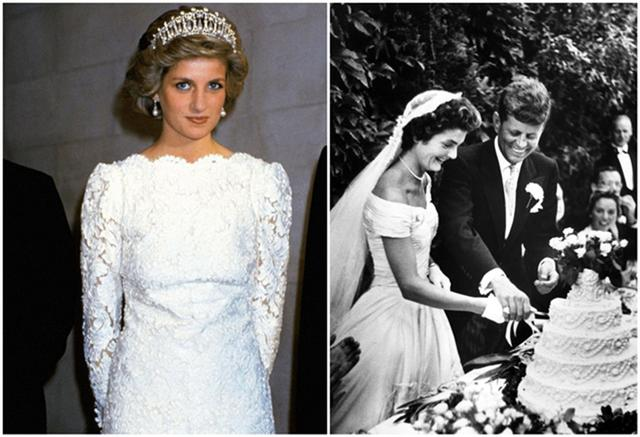 左为带着珍珠泪王冠的戴安娜王妃,右为爱带珍珠项链的美国第一夫人
