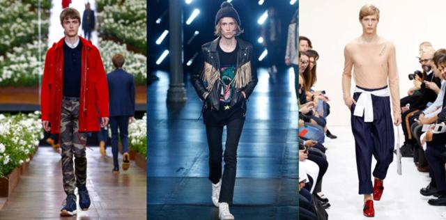 2016春夏男装周秀场,从左至右分别为:Dior、YSL、J.W.Anderson