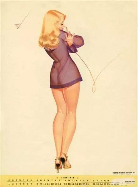 美国1947年美女挂历 那个年代挺开放