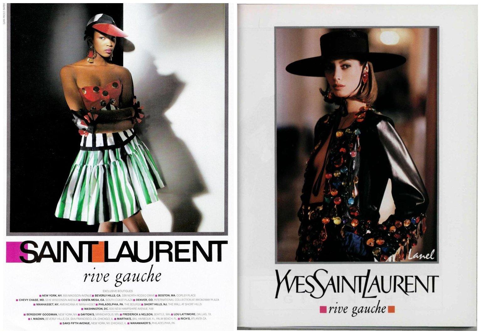 左:Saint Laurent 广告;右:Yves Saint Laurent广告