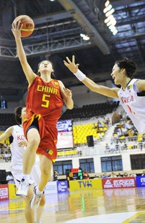 中国女篮20分大胜韩国 第10次夺得亚锦赛冠军
