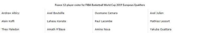 法国男篮公布世预赛12人名单 新星马莱登首次入选