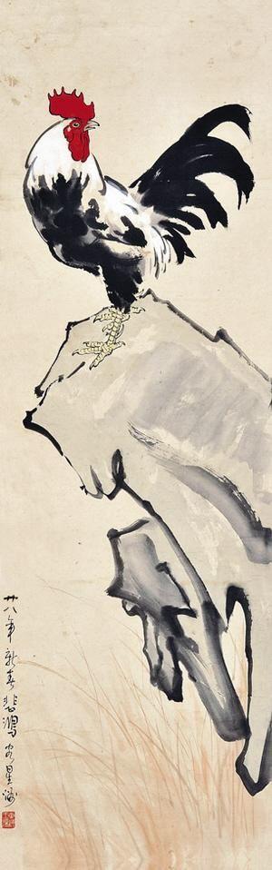徐悲鸿的动物画,往往有着中国寄兴托志的传统,取材构图均寓涵深意,本