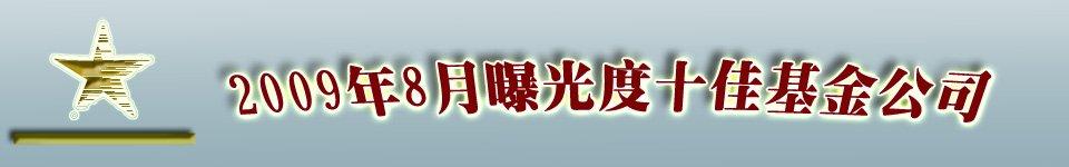 2009年8月新闻曝光度十佳基金公司