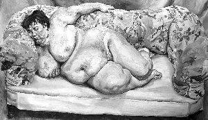 """最贵活人裸体画:英国""""胖女裸睡图""""值1800万(组图)"""