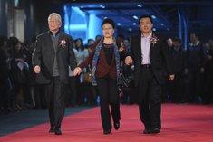 王�飞�、谭雅玲等走过红毯