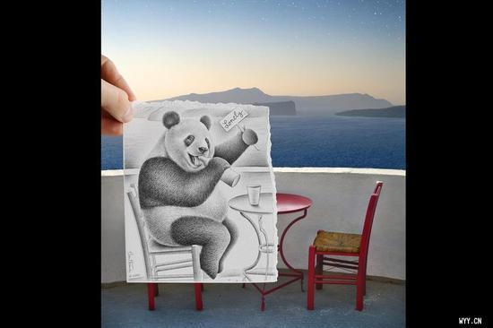 纸张的摄影艺术 用铅笔画拼接现实用铅笔画的奥比岛图纸,用铅笔画中国龙,用铅笔画花