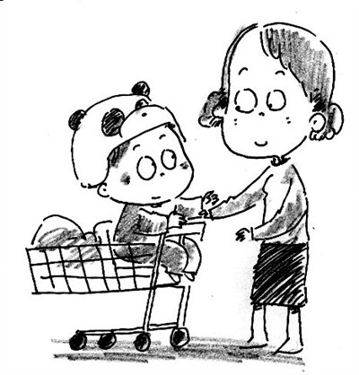 超市购物简笔画