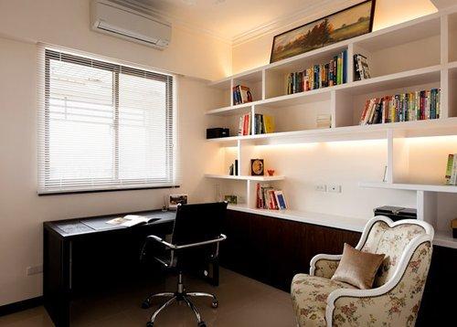 书架与书桌l字型设计图片