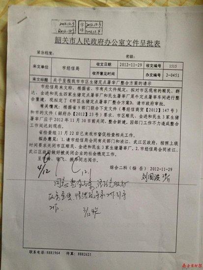 韶关市人民政府办公室文件呈批表