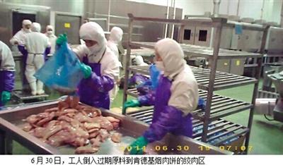 麦肯上海供应商使用【过期肉 工作人员称吃不死人