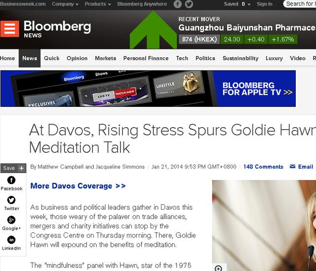 达沃斯办禅修讲座:关注精神压力对商业的影响