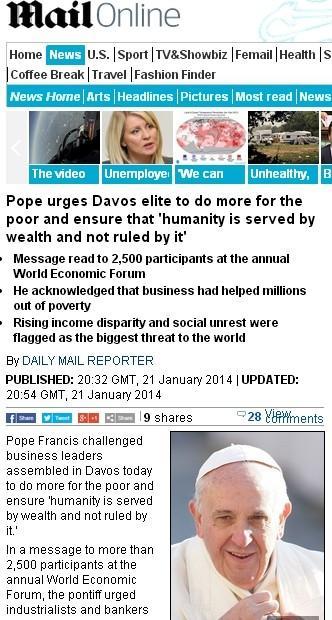 罗马教皇呼吁达沃斯嘉宾关注穷人利益