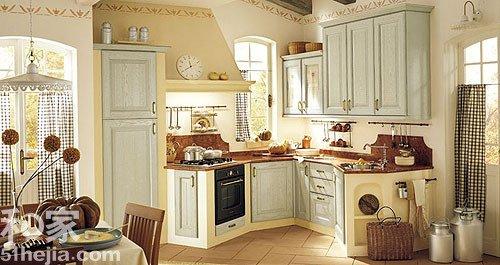 欣赏10款典雅橱柜 diy田园地中海风格唯美厨房图片