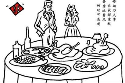 聚餐简笔画-婚宴消费,缘何 盛宴 变 剩宴