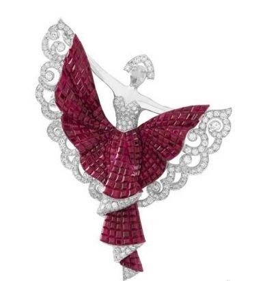 梵克雅宝Silk Road Dancer红宝石隐密式镶嵌胸针