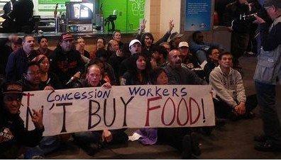 旧金山球场内发生特许经营业者示威(图)