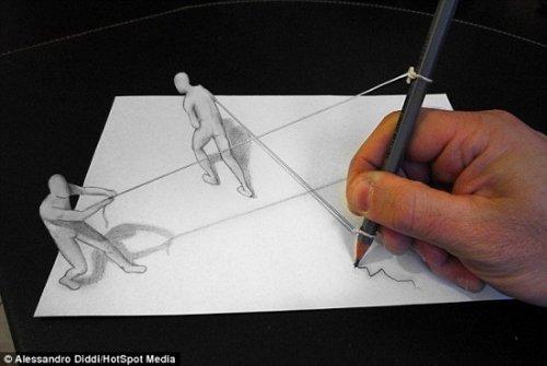 """铅笔白纸绘奇妙3d画 海豚钻圈""""跃""""然纸上(图)"""
