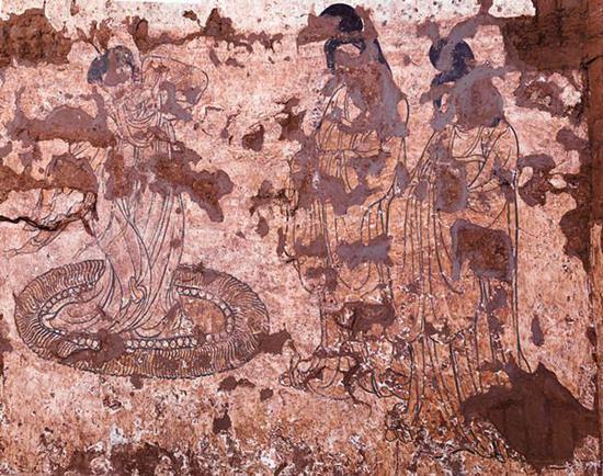 陕西考古发现唐代纪年墓中最早山水屏风壁画