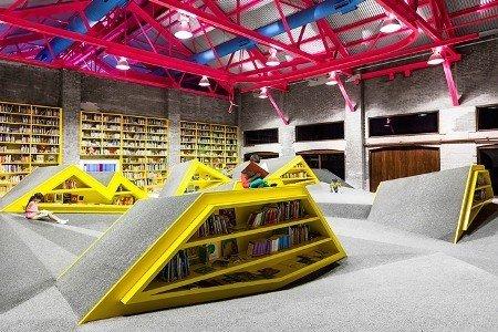 """墨西哥蒙特雷市建成一座创意主题图书馆,微型""""山区""""设计,方便读者阅读图片"""