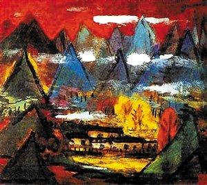 上世纪80年代林风眠《黄山》系列风景画中,作品的色彩非常强烈,用笔也