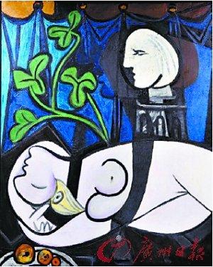 毕加索名画 裸体 绿叶和半身像 高清图片
