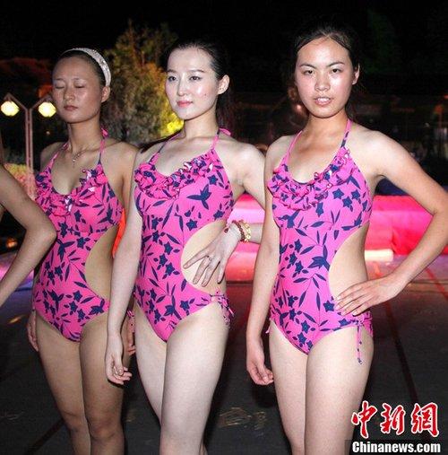 """安徽世界旅游小姐佳丽秀泳装 被批""""惊悚"""""""