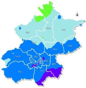 北京市降水量分布图