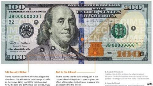 新版100元美钞_美国8日发行新版百元美钞 添加防伪新标记(图)