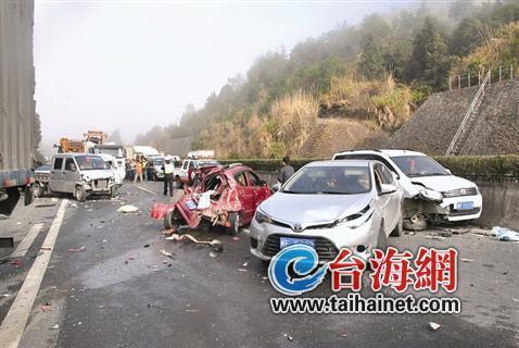 龙岩高速路昨日发生12车追尾 致一死两轻伤