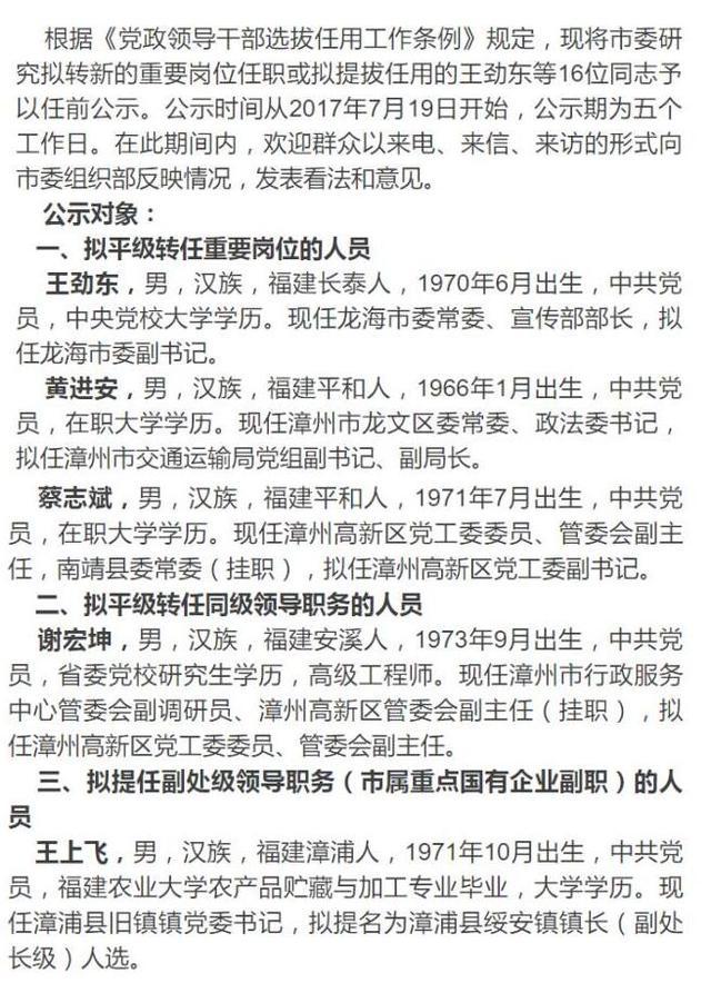 漳州16位干部任前公示 涉及多个重要岗位_大闽