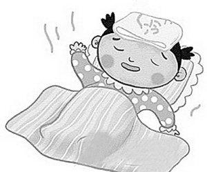 发烧简笔画-孩子发烧感冒捂不得 小儿夏季热多喝水有效