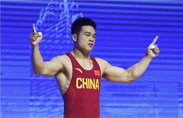 闽将石智勇打破男子73公斤级抓举及总成绩世界纪录