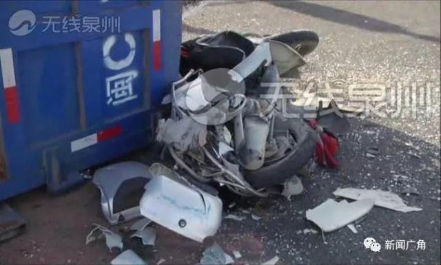 泉州发生一起惨烈车祸 女摩托车手当场身亡