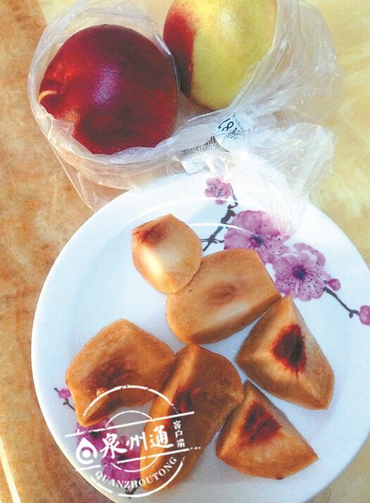 市民买油桃外表鲜红果肉发黑 教你识破12种毒水果