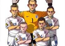 高清:世界杯漫画系列作品 球员细节刻画精细