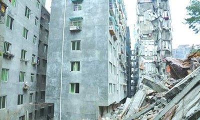 贵州一山体滑坡冲垮11层居民楼现场如震区