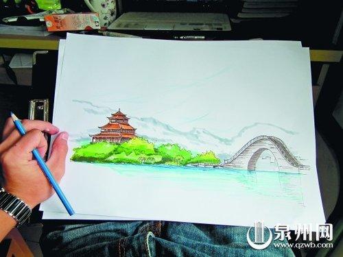 坐飞机带孩子旅游的手绘图