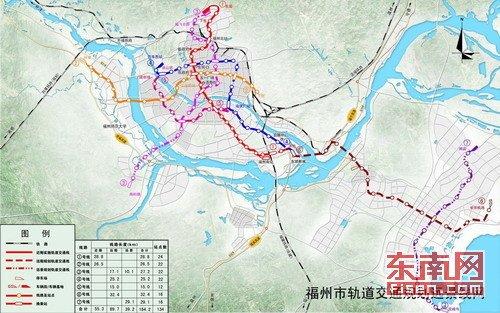 福州市轨道交通规划线网远景示意图-福州40年内将建7条地铁 明年下半