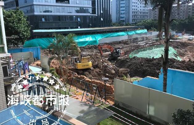 福州晋安区一工地施工 隔壁幼儿园围墙塌了一大片