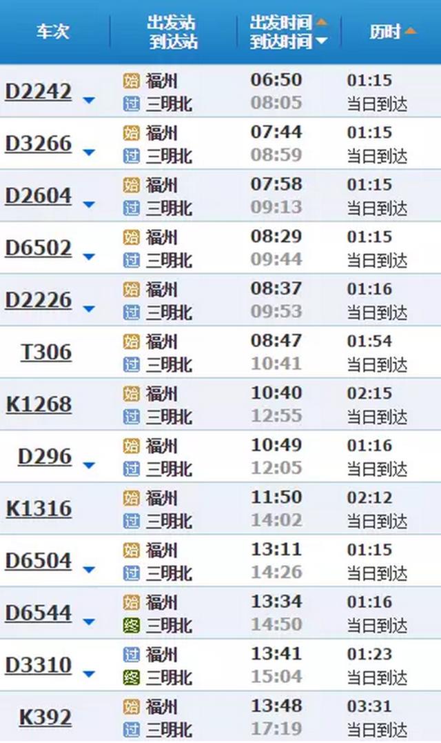 晚上9点以后也可以从福州回三明了 动车班次已加开