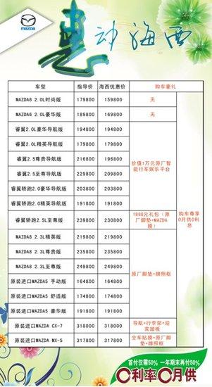 惠动海西 荣基马自达最高优惠30000元