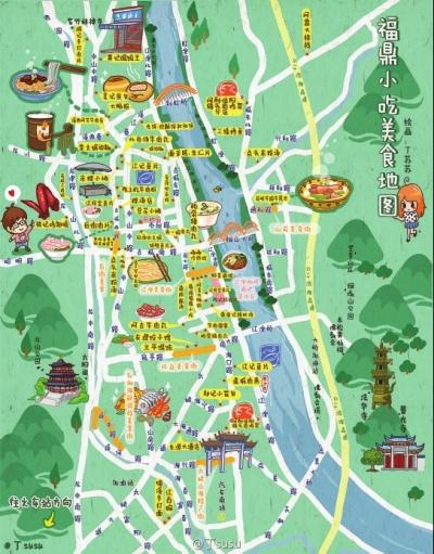 福州妹子手绘福鼎小吃地图 用双脚丈量美食位置