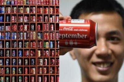 """""""泉州小伙13年收藏了500多个不同的可乐罐"""""""