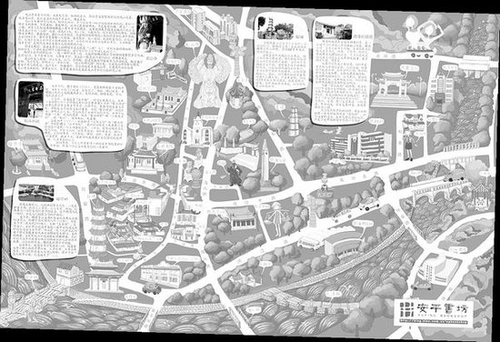 手绘地图带你走进古镇安海q版安平桥龙山寺