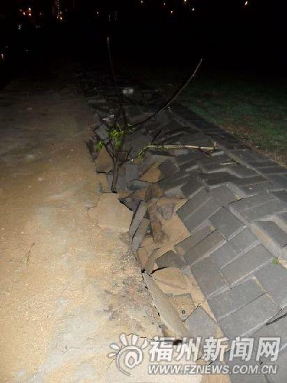 江滨中大道步行路下铺设细沙 一踩水砖就塌陷