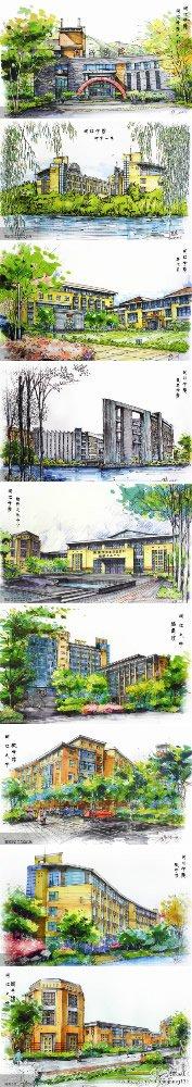 闽江学院的9张手绘明信片