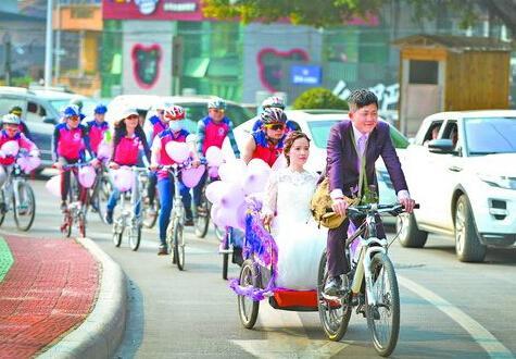 别致又浪漫的单车婚礼,出自新娘黄燕燕的想法.-近百辆自行车组成图片