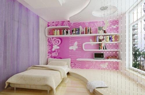 女生卧室贴什么颜色的壁纸好看图片